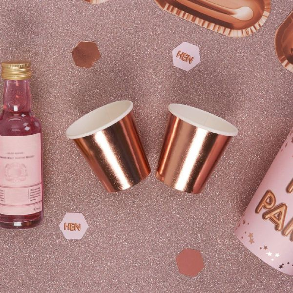 Glitz & Glamour Rose Gold Foil Mini Paper Cup/Shot Glasses (8)